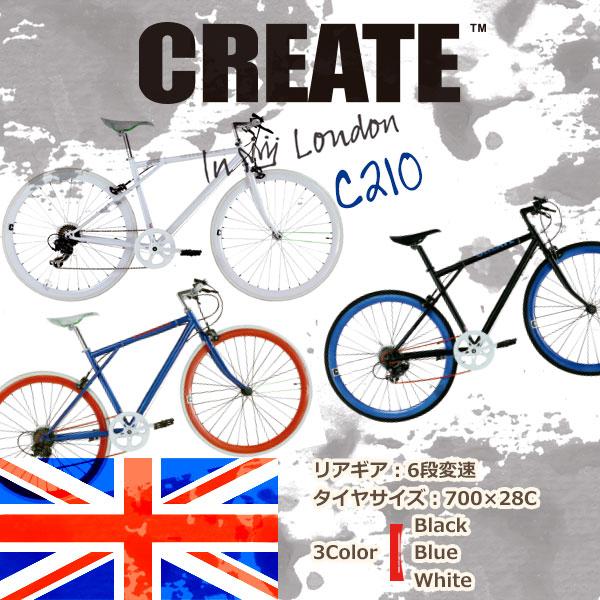 【08/05までの激安価格】 自転車 【送料無料】 クロスバイク クリエイトバイク 6段変速 通学 通勤 街乗り スポーツ・アウトドア C210 CREATE bikes イギリスブランド