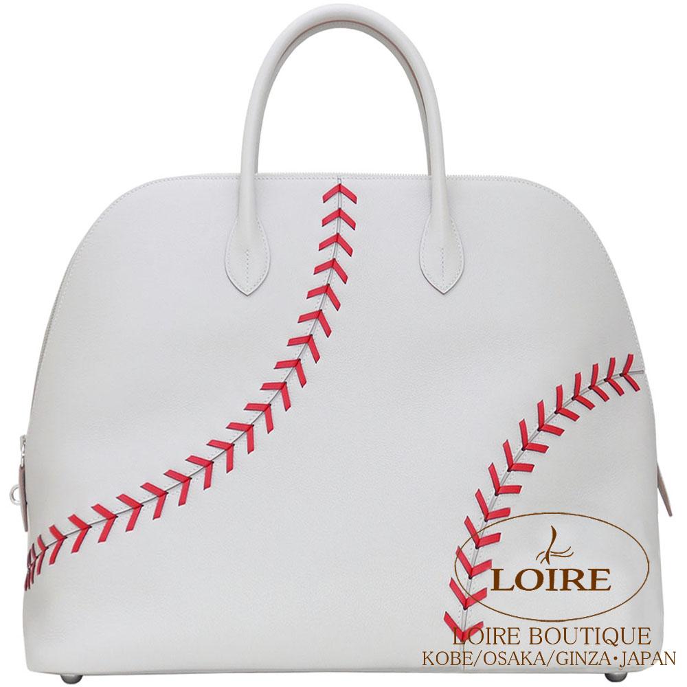 エルメス[HERMES] ボリード 1923 ベースボール 45cm[Bolide 1923 Baseball 45cm]  ヴォー・エヴァーカラーグリペール×ルージュカザック [GRIS PERLE(80)/ROUGE CASAQUE(Q5)]シルバー金具