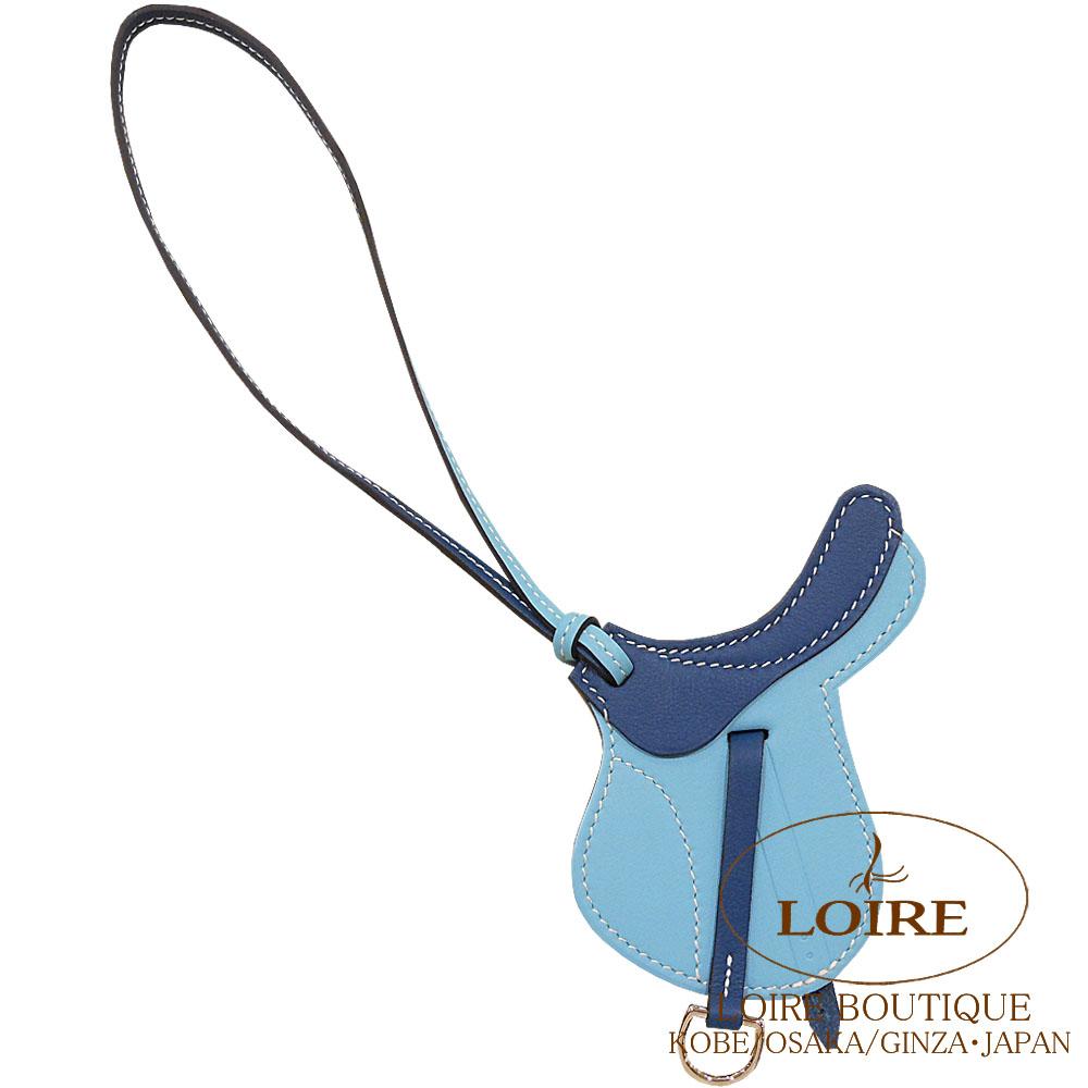 エルメス[HERMES] パドック[Paddock] チャーム 鞍 スイフト ブルーアトール×コルヴェール[BLUE ATOLL(3P)/CORVERT(1P)]