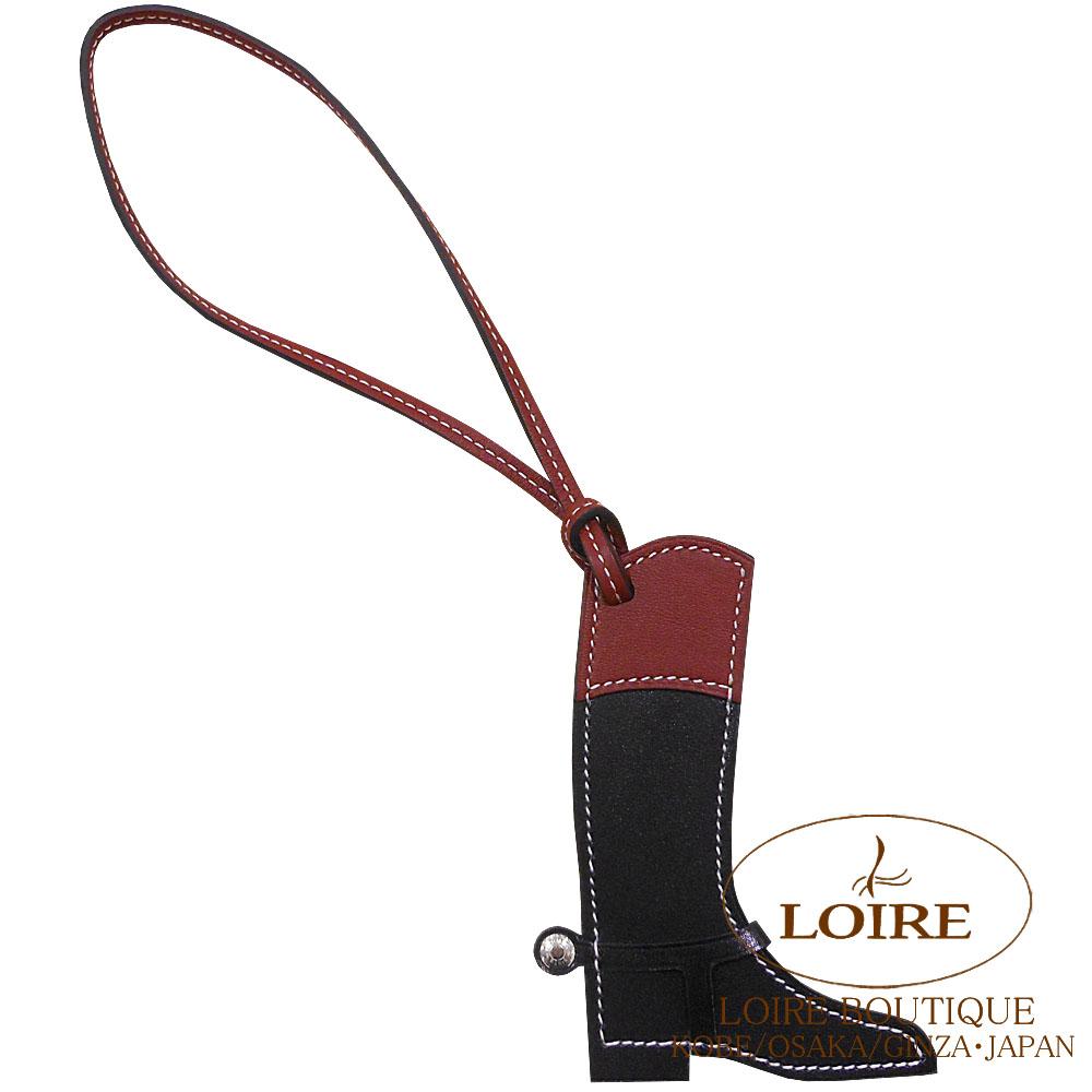 エルメス[HERMES] パドック[Paddock Botte] チャーム ブーツ ボックスカーフ×スイフト クロ×ルージュアッシュ [ NOIR(89)/ROUGE H(55)] シルバー金具