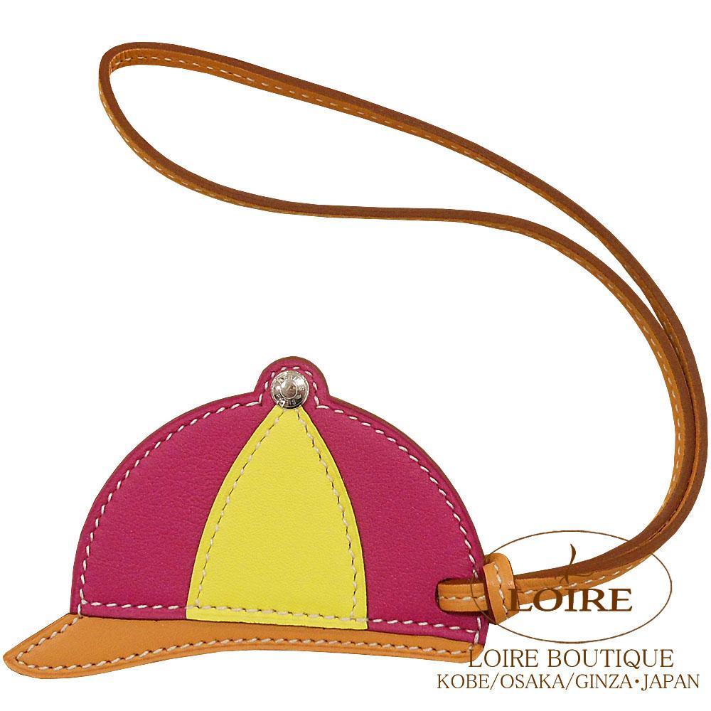 エルメス[HERMES] パドック[Paddock Bombe] チャーム 帽子 スイフト ローズパープル×ライム×ナチュラルブトンドール [ROSE POURPRE(L3)/LIME(9R)/NATUREL BOUTON DOR]