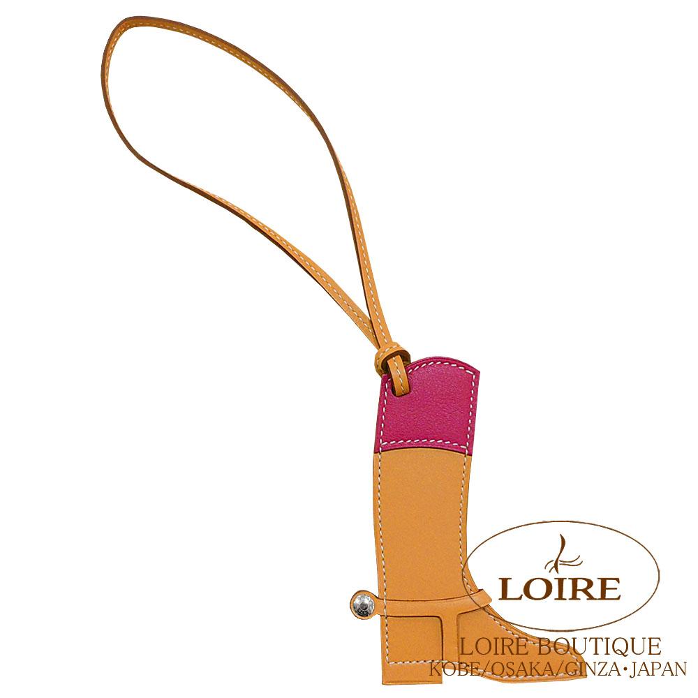エルメス[HERMES] パドック[Paddock Botte] チャーム ブーツ バトラー×スイフト ナチュラルサブル×ローズパープル [NATUREL SABLE(21)/ROSE POURPRE(L3)] シルバー金具