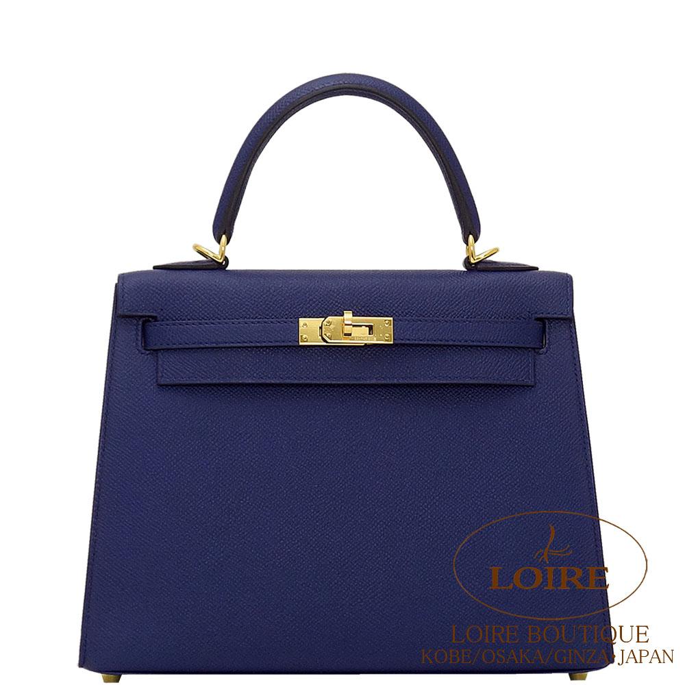 エルメス[HERMES]  ケリー 25cm[Kelly 25cm] 外縫い エプソン ブルーアンクル [BLEU ENCRE(M3)] ゴールド金具