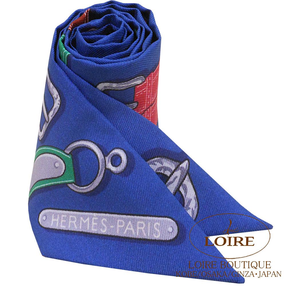 エルメス[HERMES] トゥイリー[TWILLY] シルク 大統領の馬具 ブルー×ヴェール×オレンジ [BLEU/VERT/ORANGE]