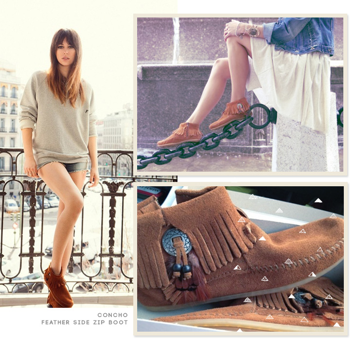 Minnetonka CONCHO FEATHER SIDE ZIP BOOT Taupe nBeKq4DFr