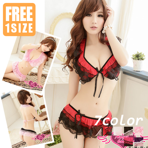 b486265e773 londbell  Sexy x pretty greedy design ♪ frilly ruffles Halter Bra Panties  set colors (black   white   pink   red   purple   brown   shocking pink   Angel ...