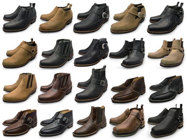 メンズ ブーツ《全20デザインから選べる》BLACK BROWN CRAZY ブラック ブラウン クレイジーホース メンズ サイドゴアブーツ モンクストラップ チャッカブーツ