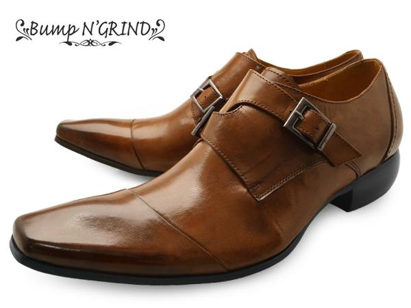 Bump N' GRIND バンプ アンド グラインド メンズ ビジネスシューズ 本革 ダブルモンク 革靴 紳士靴 BG-4001 BROWN ドレスシューズ 就活 靴 くつ 送料無料