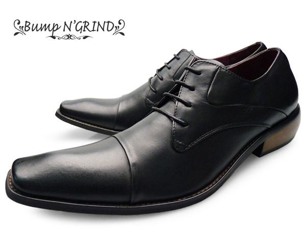 ビジネスシューズ 本革 ロングノーズ BG-2799 BLACK ドレスシューズ 革靴 紳士靴 黒 ブランド Bump N' GRIND バンプ アンド グラインド 就活 大きいサイズ 紐 ストレートチップ 送料無料