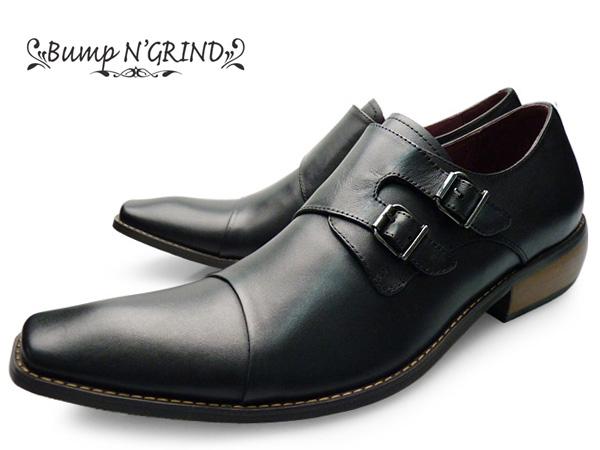 Bump N' GRIND バンプ アンド グラインド bg-2800 BLACK スタイリッシュ メンズ ビジネスシューズ 本革 革靴 紳士靴 ダブルモンク ドレスシューズ ブラック 黒 就活 靴 くつ 送料無料