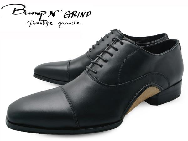 Bump N' GRIND バンプ アンド グラインド prestige grade プレステージグレード bg-7010 BLACK メンズ ビジネスシューズ 本革 ストレートチップ ドレスシューズ スクエアトゥ 革靴 紳士靴 就活 靴 くつ 送料無料