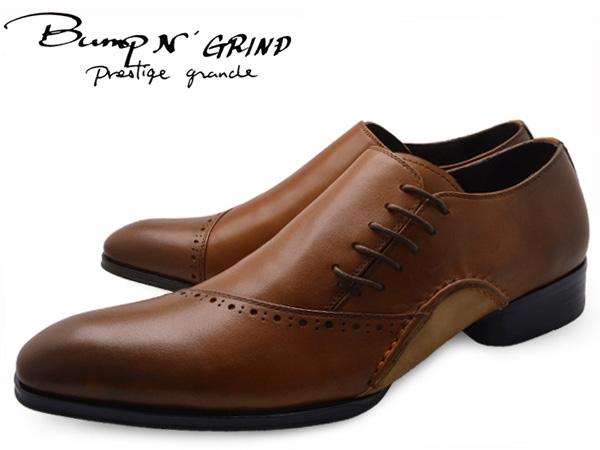 Bump N' GRIND バンプ アンド グラインド prestige grade プレステージグレード bg-7011 BROWN メンズ ビジネスシューズ 本革 サイドシューレース ドレスシューズ 革靴 紳士靴 就活 靴 くつ 送料無料