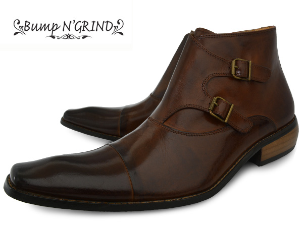 Bump N' GRIND 2804 CAMEL バンプ アンド グラインド メンズ ダブルモンク ブーツ サイドジップ 本革 ロングノーズ ビジネスシューズ 革靴 紳士靴 キャメル BG-2804 CAMEL ドレスシューズ 送料無料