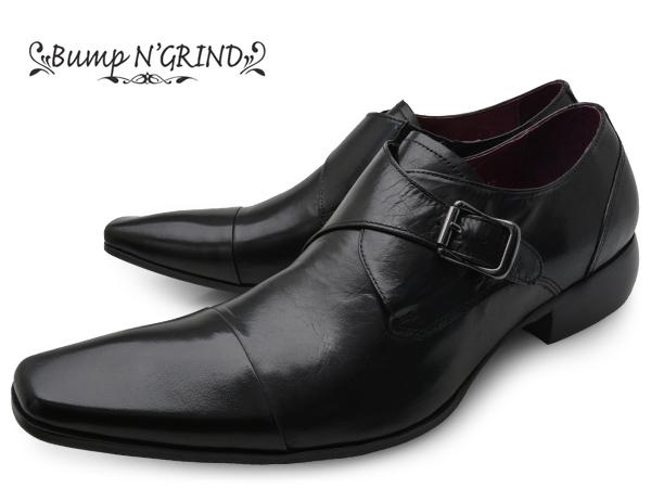 Bump N' GRIND バンプ アンド グラインド メンズ ビジネスシューズ 本革 ロングノーズ スクエアトゥ ストレートチップ モンク 革靴 紳士靴 ブラック BG-6032 BLACK ドレスシューズ 就活 靴 くつ 送料無料