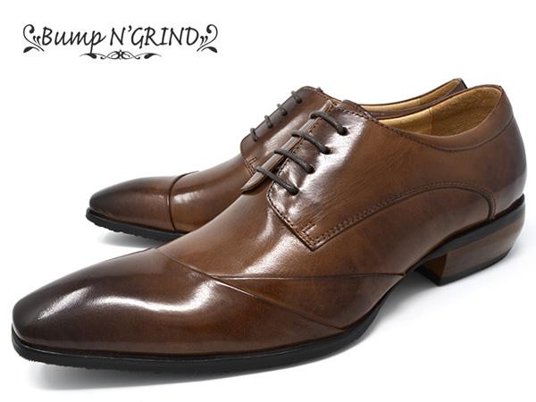 Bump N' GRIND バンプ アンド グラインド メンズ ビジネスシューズ 本革 ロングノーズ スクエアトゥ 紐 革靴 紳士靴 キャメル BG-6050 CAMEL ドレスシューズ 就活 靴 くつ 送料無料