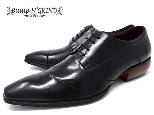 Bump N' GRIND バンプ アンド グラインド メンズ ビジネスシューズ 本革 ロングノーズ スクエアトゥ 紐 革靴 紳士靴 ブラック BG-6050 BLACK ドレスシューズ 送料無料 就活 靴 くつ