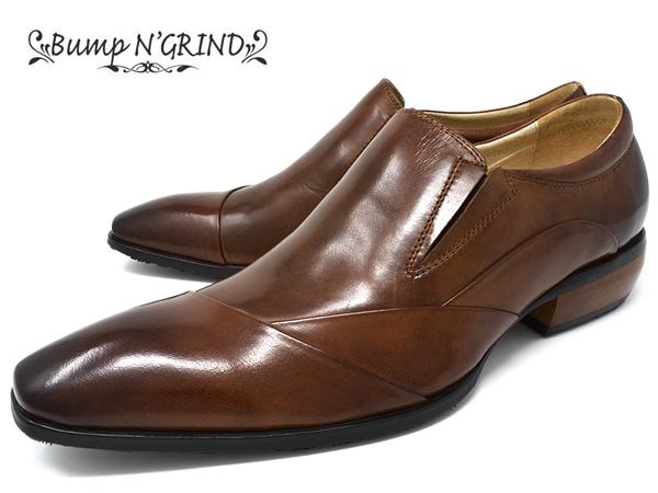 Bump N' GRIND バンプ アンド グラインド メンズ ビジネスシューズ 本革 ロングノーズ スクエアトゥ スリッポン 革靴 紳士靴 キャメル BG-6051 CAMEL ドレスシューズ 就活 靴 くつ 送料無料