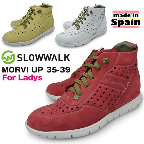 レディース カジュアルシューズ ミッドカット スニーカー 本革 ヌバック ブランド SLOWWALK スローウォーク WHITE YELLOW RED スペイン製 インヒール 3.5cmアップ 女性用