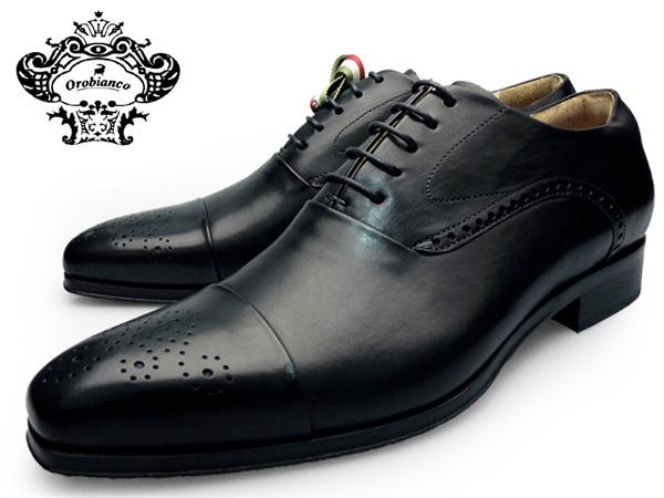 OROBIANCO オロビアンコ シューズ MONZA NERO モンザ セミブローグ ドレスシューズ メンズ 本革 ロングノーズ ブラック イタリア製 革靴 紳士靴 送料無料 靴 くつ