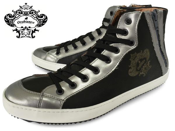 OROBIANCO オロビアンコ ハイカット スニーカー TREVISO トレヴィーゾ PIOMBO/NERO メンズ ハイカット シューズ 本革 イタリア製 シルバー ブラック 靴 くつ