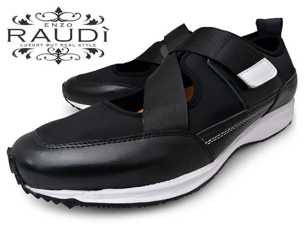 RAUDI ラウディ BLACK メンズ スニーカー サンダル シューズ 本革 レザー レザーシューズ ブラック 黒 靴 ビブラムソール ネオプレーン 送料無料