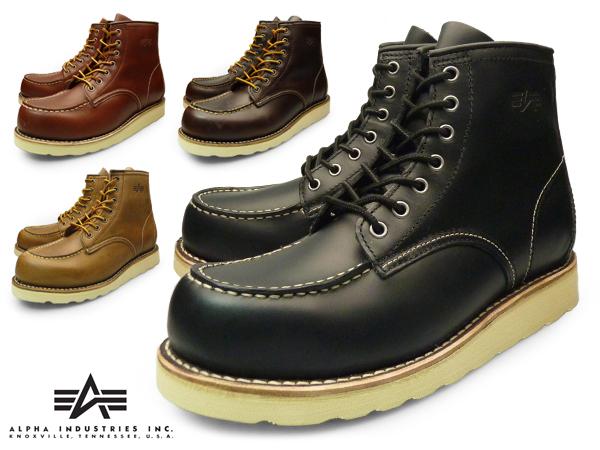 81beb663bf2 ALPHA INDUSTRIES INC MENS MOC TOE WORK BOOTS Alpha industries men's MOC  tuwork boots BLACK DARK BROWN RED BROWN SAND leather brands