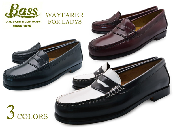 93cf91003d1 Women s loafers leather G.H.BASS WEEJUNS WAYFARER BLACK WHITE BURGUNDY bass  weejuns Wayfarer Black White Burgundy penny loafers black white shoes 1.8  cm ...