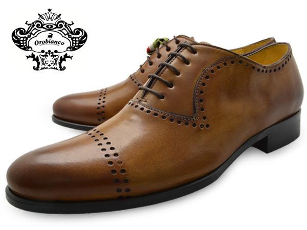 ストレートチップ パンチドキャップトゥ イタリア ビジネス OROBIANCO MENS QUARTER 新色追加 BROGUE シューズ MISSORI 爆買い送料無料 オロビアンコ 靴 クォーターブローグ 送料無料 TAN おろびあんこ