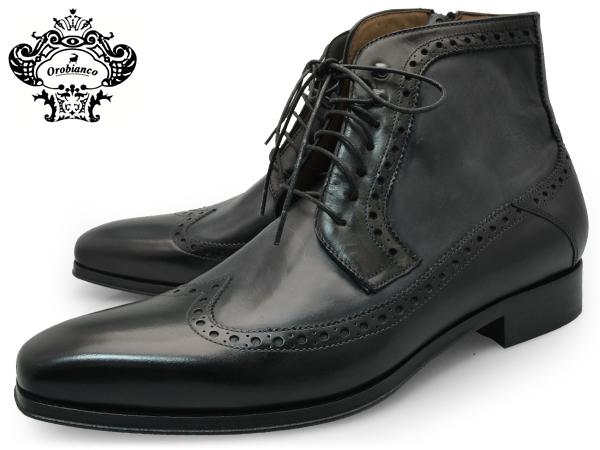 OROBIANCO MENS WINGTIP BOOTS VENEZIA NERO オロビアンコ ウイングチップブーツ ベネチア ベネツィア ネロ ブラック 黒 ウイングチップ ブーツ イタリア シューズ 靴 送料無料
