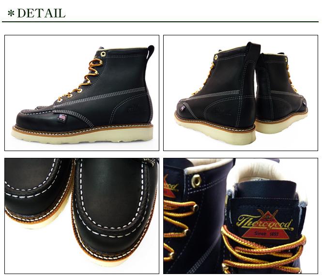 d2d428b3fb8 THOROGOOD 6 MOC TOE WORK BOOTS BLACK 814-6201 LEATHER Thorogood by 6 inch  MOC to work boots black leather mens boots hunting boots oil pull up brand  ...