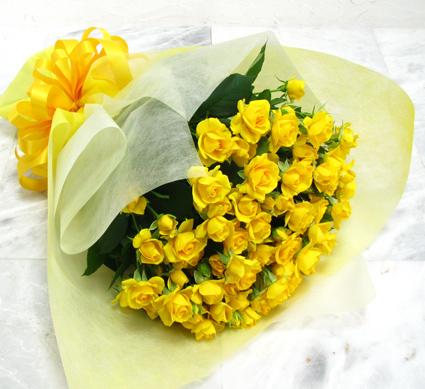 【スプレー咲きの黄色バラ20本を花束にして】【生花】【花束】【誕生日】【お祝い】【記念日】【フラワーギフト】【バラ】