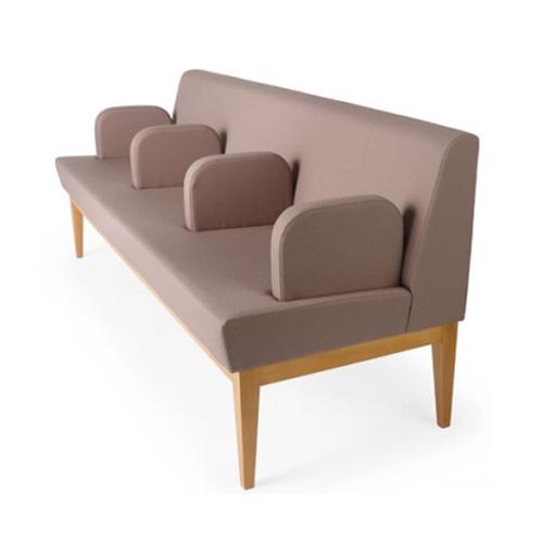 ロビーチェア 3人掛け ラウンジソファ 布張り 長椅子 ベンチ ウェイティングソファ 3人用 背付き 木脚 公共施設 美術館 待合室 LC-1862WD-4H-F