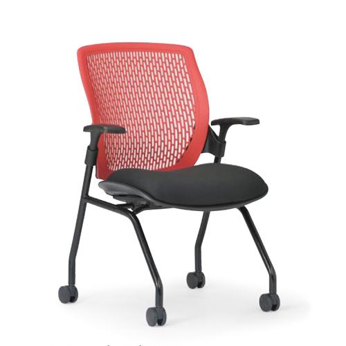 スタッキングチェア 肘付き キャスター付き 完成品 布張り 会議椅子 ミーティングチェア 会議用 チェア いす イス MC-515 LOOKIT オフィス家具 インテリア