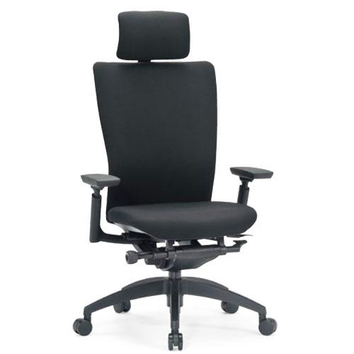 ★送料無料★ エルゴノミクスチェア ハイバック ヘッドレスト 可動肘付 キャスター付 布張り 回転イス オフィスチェア 事務用椅子 R-5555