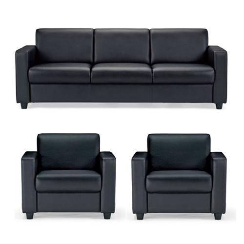 応接セット 3点 オフィス家具 アームチェア 3人掛けソファー 応接家具セット 高級家具 ビニールレザー張り 応接室用ソファセット 来客用 RE-1843S2