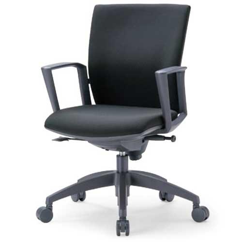 チェア ローバック 肘付 キャスター付 布張り ビニールレザー張り 10色展開 ランバーサポート 回転イス オフィスチェア 事務用椅子 OS-2215SJ 送料無料 ルキット オフィス家具 インテリア