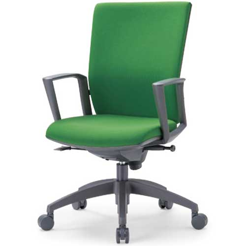チェア ミドルバック 肘付 キャスター付 布張り ビニールレザー張り 10色展開 ランバーサポート 回転イス オフィスチェア 事務用椅子 OS-2235SJ 送料無料 LOOKIT オフィス家具 インテリア