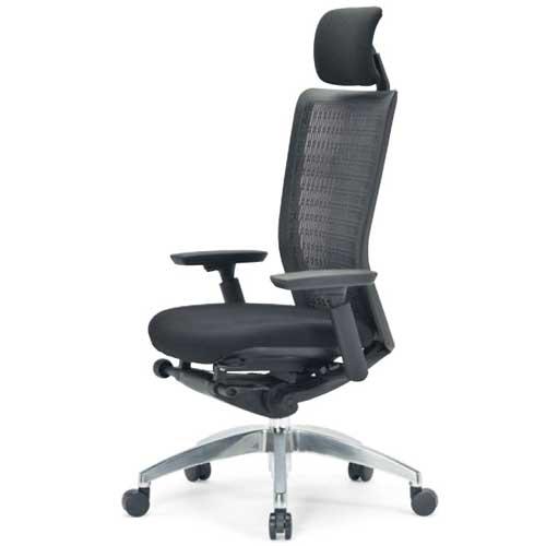 エルゴノミクスチェア メッシュ ハイバック ヘッドレスト 可動肘付 キャスター付 布張り 回転イス エグゼクティブチェア 事務用椅子 R-5675 送料無料