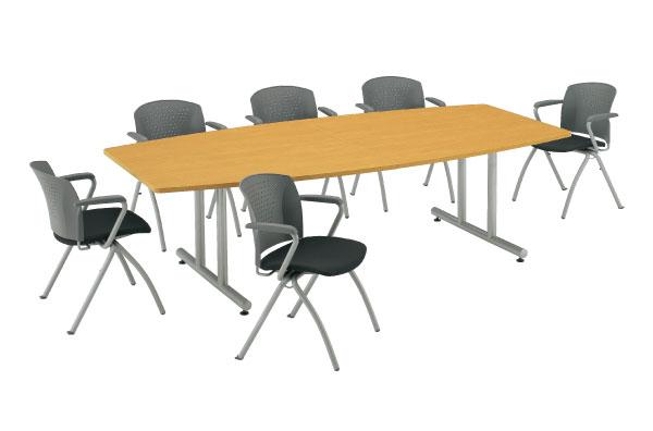 【最大1万円クーポン5/16 2時まで】会議テーブル ボート型 舟形 テーブル 机 DWS-2412B ルキット オフィス家具 インテリア