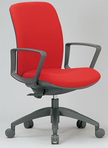 椅子 肘掛 チェア ミドルバック 肘付 キャスター付 布張り ビニールレザー張り 11色展開 回転イス オフィスチェア 事務用椅子 OA-2135 送料無料 ルキット オフィス家具 インテリア