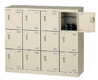 12人用シューズロッカー 4列3段 備品 収納 保管庫 下駄箱 靴入れ くつ箱 小物入れ スチール SLB-M412-K2 LOOKIT オフィス家具 インテリア