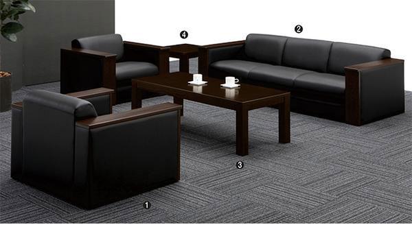 応接セット 役員用家具 高級 大型 ソファ アームチェア センターテーブル 応接室 社長室用 皮革 ビニールレザー 布 FS-1002V