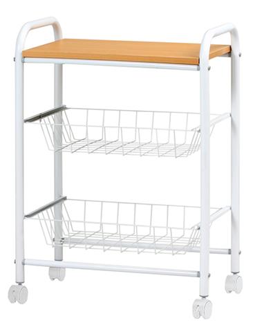 キッチンワゴン 収納棚 食器棚 ラック カゴ付 KW-5030 ルキット オフィス家具 インテリア