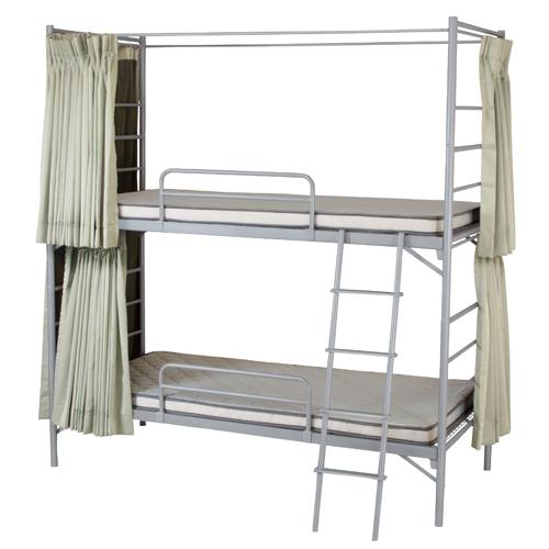 【法人限定】 2段ベッド(カーテン付) 寝室 睡眠 簡易 シングル 二段ベッド ふとん 家具 インテリア シンプル スチールベッド シンプル 組立式 EBD-B2S