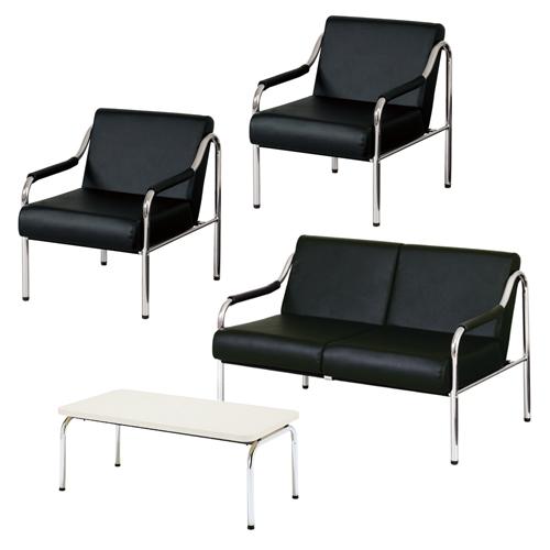 応接セット ローテーブル付き 4人用 革張り シンプル ソファ ロビー 高級 オフィス 応接室 会議室 オフィス モノトーン レザー張り 打ち合わせ GRL-BKS