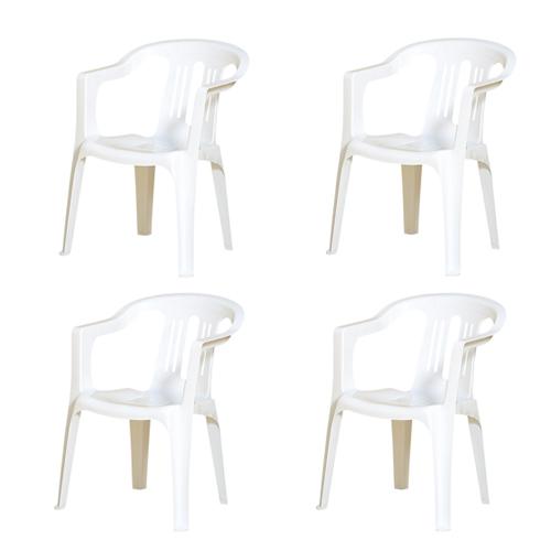 【法人限定】 ガーデンチェア 4脚セット プラスチックチェア エクステリア エントランス ガーデン ガーデニング チェア 椅子 屋外用 ホワイト リゾート JC-400S