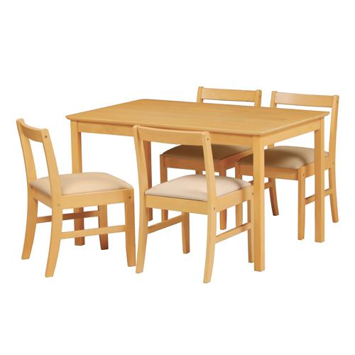 【法人限定】 ダイニング5点セット ダイニングテーブル チェア 天然木 シンプル かわいい 北欧 ナチュラル ブラウン リビング カフェ ETT-1275