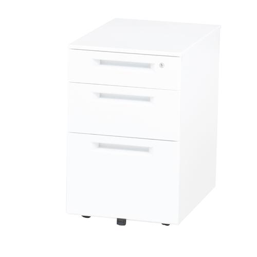 【法人限定】 インワゴン 3段 鍵付き ホワイト 白 デスクワゴン サイドワゴン デスク 収納 オフィスワゴン デスクキャビネット 脇机 引出収納 WJ-IN3