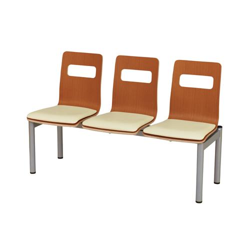 【法人限定】ロビーチェア 3人掛け 送料無料 ハイタイプ 合成皮革パッド付 背付きベンチ 3人掛けベンチ ロビーベンチ 施設 医療施設 教育施設 LBH-31