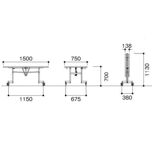 学校用 テーブル 1575 角型 高さ70cm 作業 LXE-1575KH LOOKIT オフィス家具 インテリア